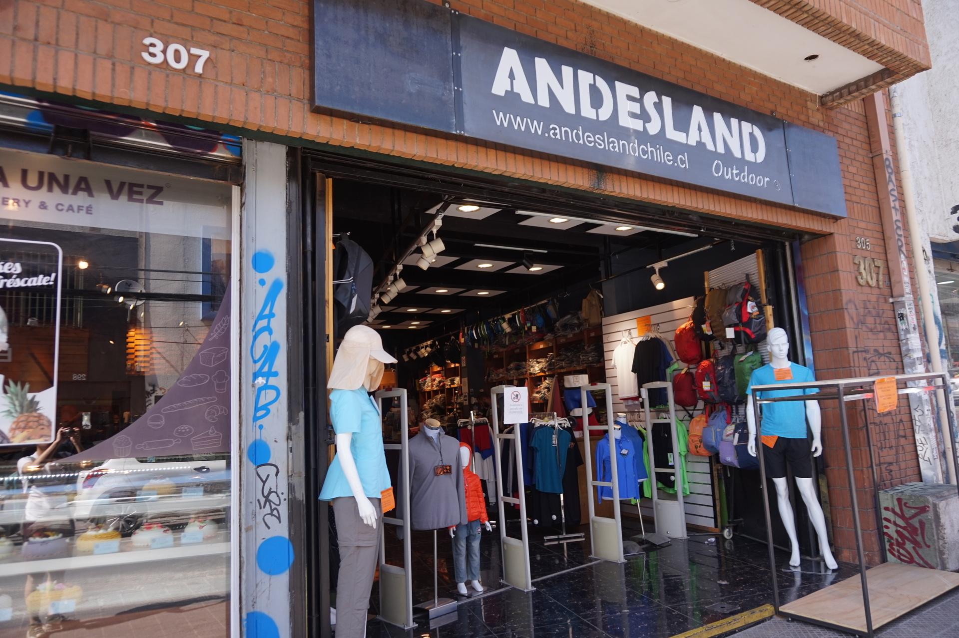 チリ サンティアゴ アウトドア ANDESGEAR 店舗