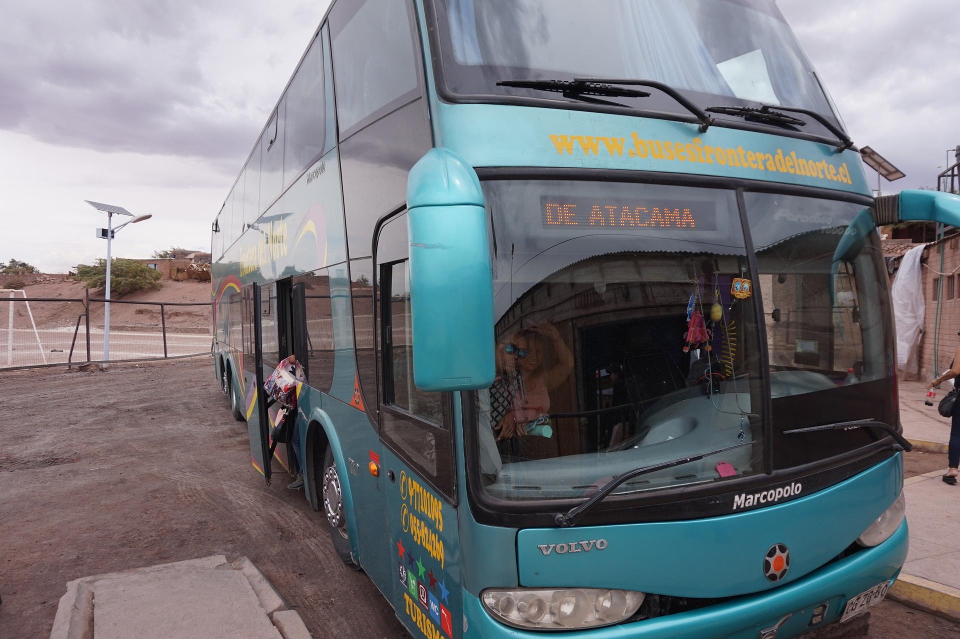 チリ ボリビア ウユニ旅行 アタカマ バス到着