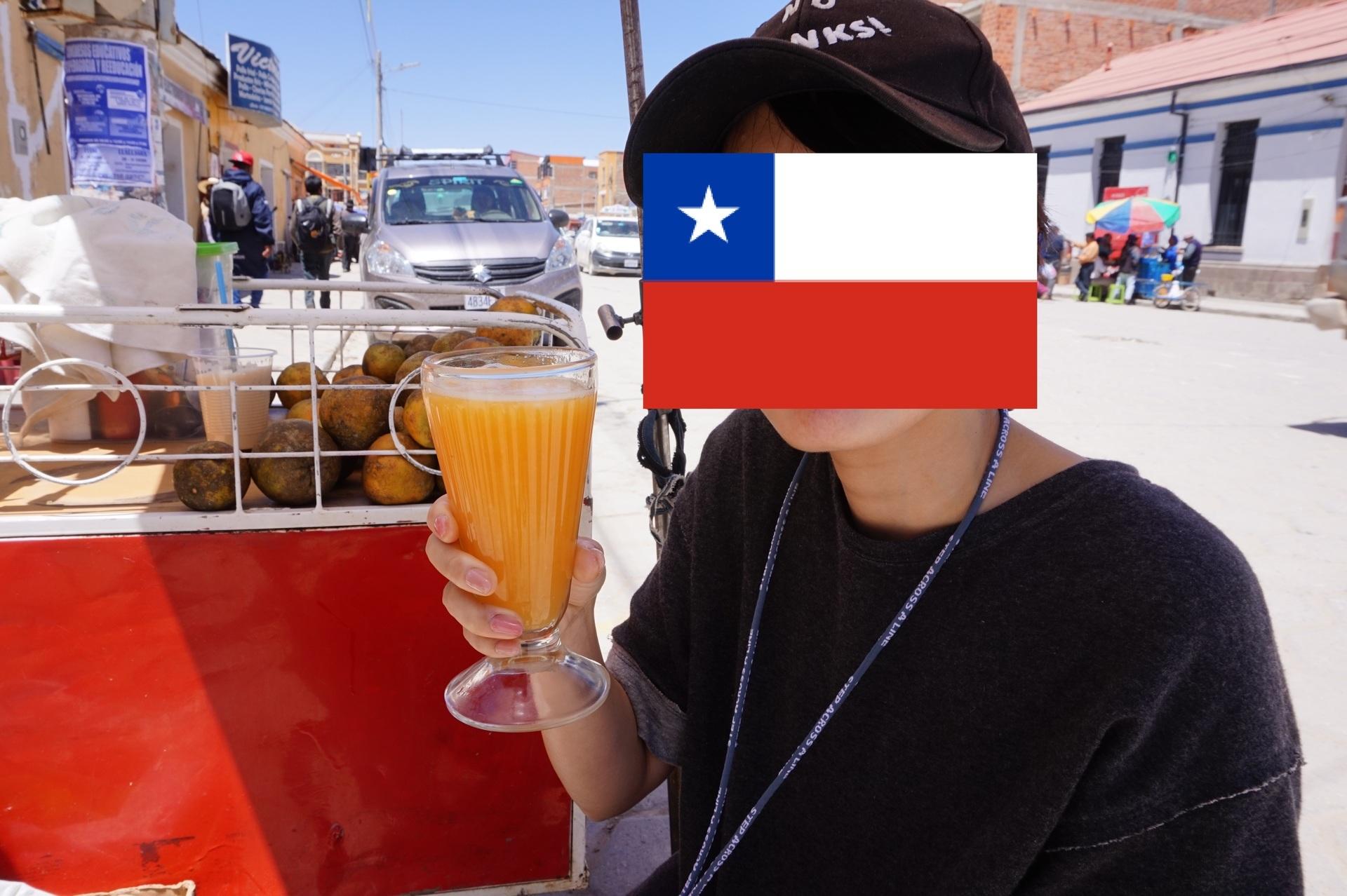 チリ ボリビア 旅行 ウユニ 街歩き フレッシュジュース